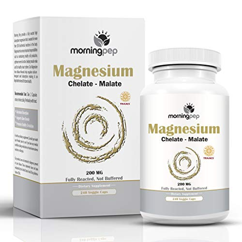 Magnesium Bisglycinate Chelate 240 Vegi Caps 200mg Elementalper Serving, Our Fully reacted (TRAACS) Albion Magnesium Has The Highest Level of Absorption, Helps Function Muscles Bones & The Heart