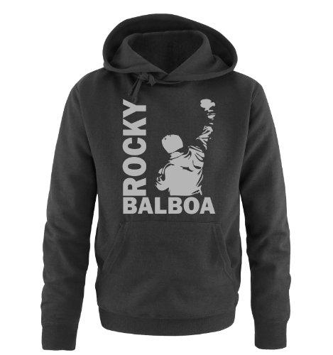 Comedy Shirts Sweat Shirt pour Hommes - Sweat à Capuche Rocky Balboa III - Sweat Italian Stallion Boxeur - Noir-Argent - Large