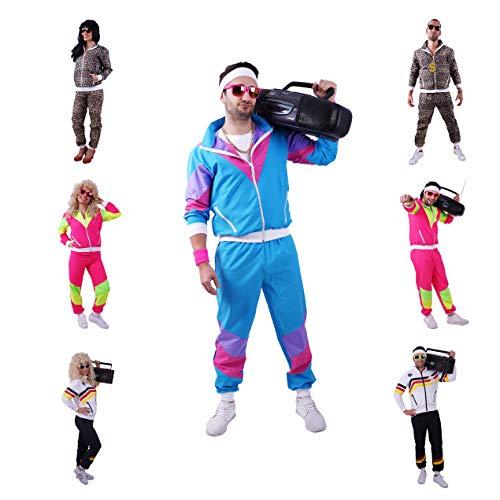 FetteParty - 80-er 90-er Jahre Erwachsenenkostüm, Deluxe Trainingsanzug - Jogginganzug, Jacke und Hose, Mehrfarbig Blau/Lila , Mottoparty Karneval JGA (S)