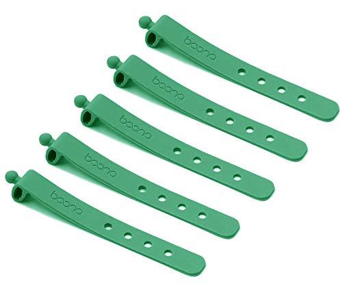 BOONA Sujetadores de cable de silicona reutilizables con 4 agujeros, 5 piezas de un juego, verde