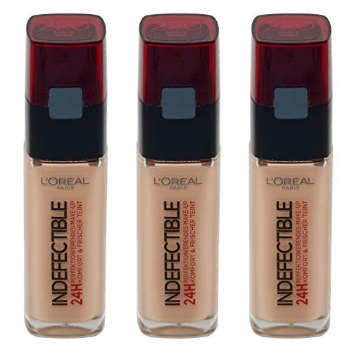 3x L'Oreal Make-Up Foundation 30ml Indefectible N220 Sand (3x 30ml)
