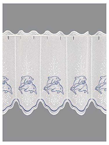 Scheibengardine Delfine Maritimer Scheibenhänger aus Plauener Spitze Badgardine blau-weiß in 2 Höhen 40 x 144 cm