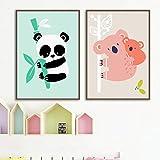 Dessin animé Panda Koala Toile tableau Peinture Abstraite Affiches Et Murale Art Animaux Murale Tableaux Bébé Enfants Chambre Chambre Decoration À La Maison 30 × 42 cm × 2 Sans Cadre
