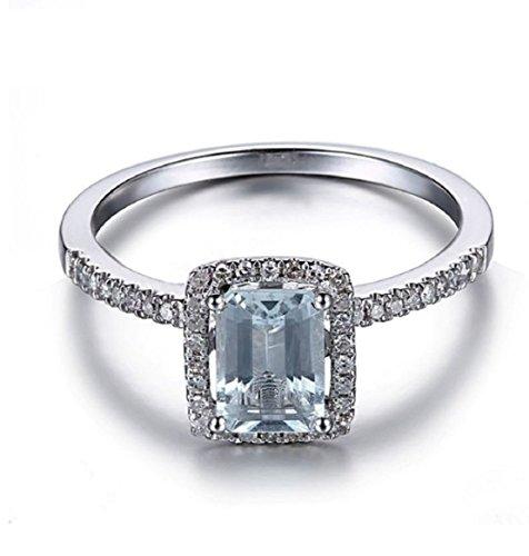 Gowe 7x 5Smaragdschliff Aquamarin Pavé, natürliche Diamanten Ring massiv 10K Weiß Gold Damen-Ehering Verlobungsring Edelsteine Schmuck
