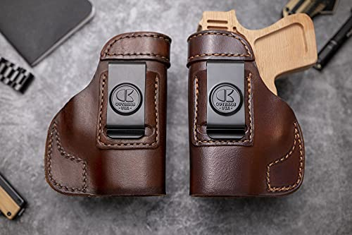 OutBags USA LS2G30 (Brown-Right) Full Grain Heavy Leather IWB Conceal Carry Gun Holster for Glock 29 G29 10mm / Glock 30 G30 G30S G30SF .45ACP. Handcrafted in USA.