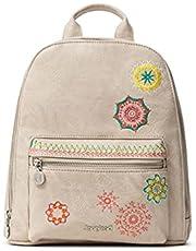 Desigual PU Backpack, Mini mochila de poliuretano. para Mujer, marrón, Medium