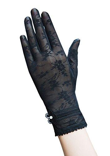 Damen Sommer Spitze Blume Sonnenschutz Handschuhe Fahrradhandschuhe Brauthandschuhe (Schwarz)