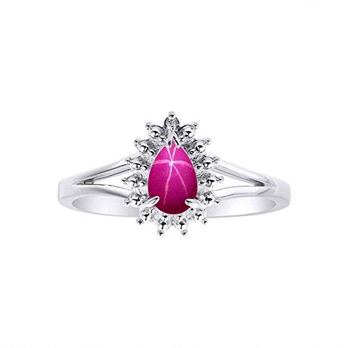 Juego de anillos de plata de ley 925, diseño de diamante y estrella