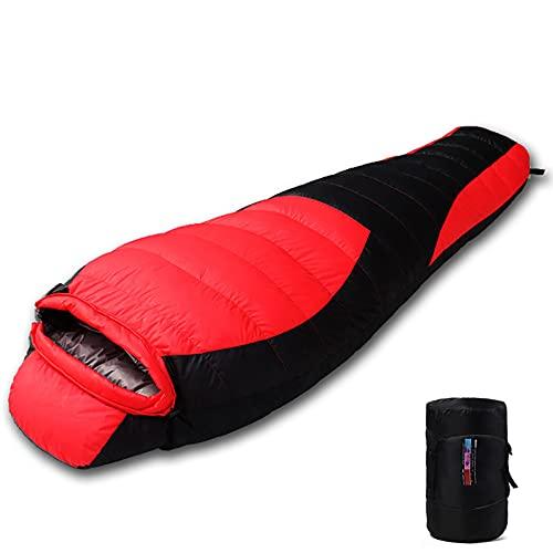 WBias&Belief Saco de dormir para momia, saco de dormir compacto, impermeable y transpirable, mantiene caliente para acampar, senderismo al aire libre, rojo, 0,6 kg