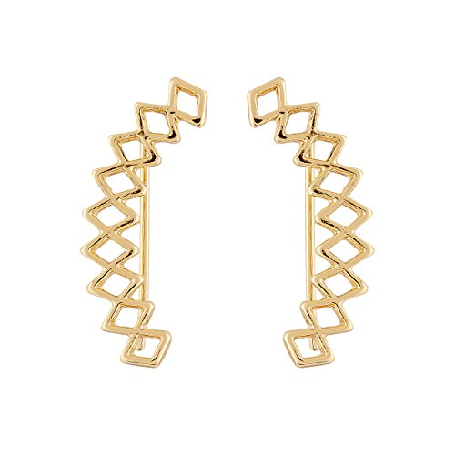 Selia geometrischer Ohrring lang Raupe Ohrstecker Kletterer in minimalistische Optik studs (Gold)
