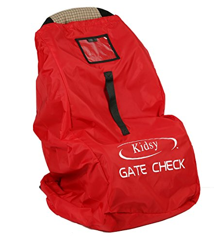 Car Seat Travel Bag Heavy Duty Gate Check Bag for Air Travel, Carry Your Child's Car Seat Without Struggling, Premium QualityBallistic Nylon for Extra Durability Red