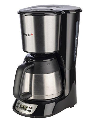 Korona 10332 Kaffeemaschine mit Timer, Edelstahl schwarz mit Thermoskanne; Filter Kaffeeautomat für 7 Tassen Kaffee - Filtermaschine stainless 800 Watt
