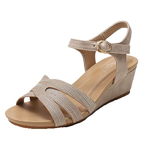 Damen Plateau Keilabsatz Sandalen Peep Toe Mode verstellbare Schnalle Knöchel Riemchen Sparkle Pailletten Kleid Schuh, goldfarben, 39 EU