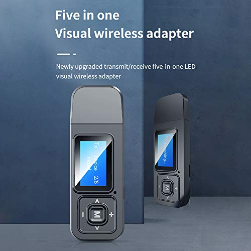Yjiing 2-in-1-Audio-Senderempfänger, LCD-Display Bluetooth 5.0-Adapter, Bluetooth-Netzwerkadapter, AV-Empfänger