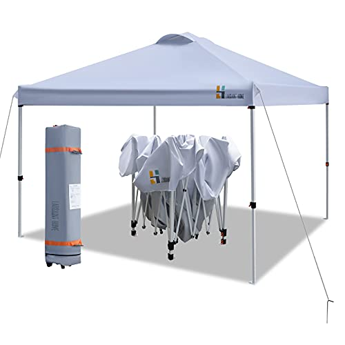 LAUSAINT HOME 10'x10' Pop Up Canopy,Portable Folding Instant Canopy Tent with Roller Bag,4 Sand Bags,Ez Up Outdoor Canopies, Quick Easy Setup Canopy, White