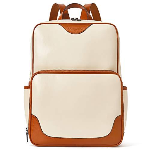 BOSTANTEN Laptop Bag Genuine Leather Backpack Purse for Women College Casual Backpack Travel Bag Beige