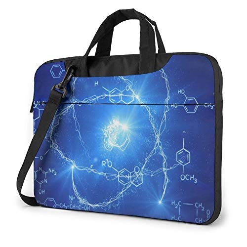 Laptop Shoulder Bag Carrying Laptop Case 14 inch,Chemistry Model Computer Sleeve Cover with Handle,Business Briefcase Protective Bag