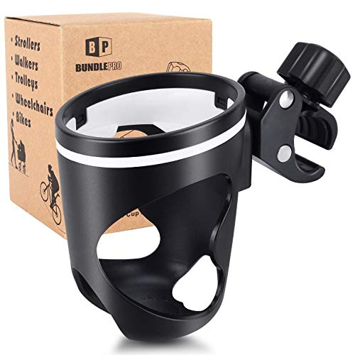 Stroller Drink Holder, Universal Cup Holders for Bikes, Trolleys or Walkers, Fits Most Cups