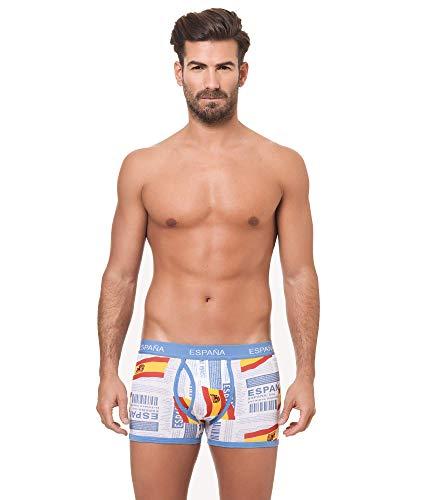 Channo Pack de 4 - Calzoncillos Boxer algodón Goma elástica Bandera de España