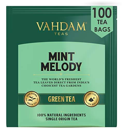 VAHDAM, té verde menta melodía, 100 unidades | Bolsitas de té de menta fresca de jardín | 100 bolsitas de té de menta natural | Bolsitas de té verde 100 Count | Té verde 100% natural