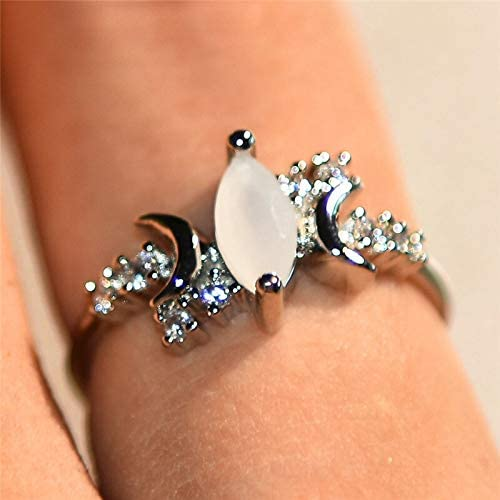 Tulsa Mall Ranking TOP17 BTPHUONG Female White Opal Moon Stone Fashion Silver Ring Color