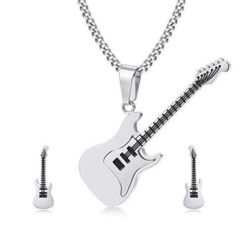 Niaofeces Ketten Mit Anhänger Edelstahl-Gitarren-Bolzen-Punkrock-Mann-Ohrringe Hängendes Halsketten-Set