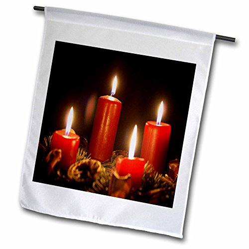 "3dRose fl_181633_1""Red Advent Calendar Candles Burning with Black Background Garden Flag, 12 x 18"