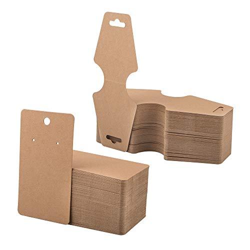 100 Stks Ketting Display Card & 100 Stks Oorbel Kaart, AFUNTA Kraft Papier Hangende Display Kaarten voor Kettingen, Oorbellen, Studs, Sieraden Display - Bruin