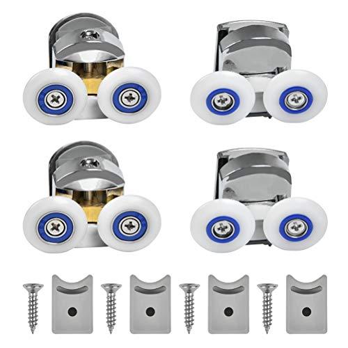 CJMM Duschkabinenrollen, 25 mm, Ersatzteile für Badezimmer, Set mit 4 Doppelrollen 4 Dusche Riemenscheibe und 4 Schraube
