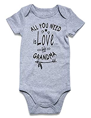 BFUSTYLE All You Need is Love and Grandma Print Cute Short-Sleeve Bodysuit Heart Outfits for Baby Girls Shower Gift Jumpsuit Shorts Sleepwear 1-2 T (Love and Grandma, 6-12 Month)