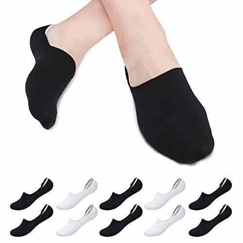 Falechay Calcetines tobilleros Invisibles Mujer Hombre 10 pares, Calcetines Cortos Verano Algodón Transpirables Silicona Antideslizante Negro/Blanco 39-42