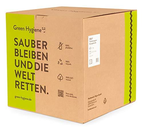 Toilettenpapier ROLF, plastikfrei, 100% Recycling, CO² frei, weiß, 2-lagig, 500 Blatt, 36 Rollen im Karton# 90637