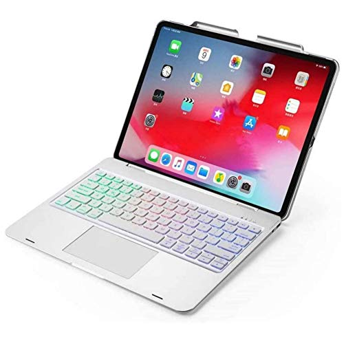 iPad Air 4 2020 10.9 Inch Keyboard Case with Touchpad&Pencil Holder, Backlits Bluetooth Keyboard Flip Smart Cover for iPad Air 4th Generation 2020 (Silver without Rotate)