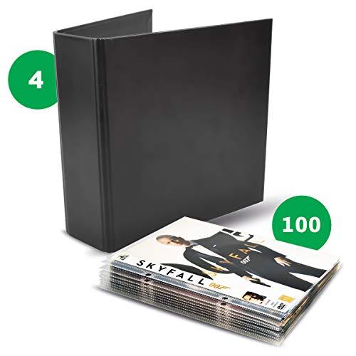 3L Office Storage Pack 100 transparante zakken met boren + 4 dvd-mappen, zwart