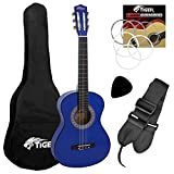 Tiger Beginner 1/2 size Classical Spanish Blue Guitar Pack