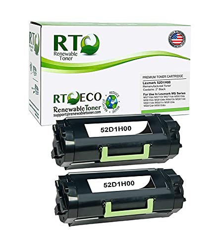 Renewable Toner USA Remanufactured High Yield Toner Cartridge Replacement for Lexmark 521H 52D1H00 MS710 MS711 MS810 MS811 MS812 (Pack of 2 Black)
