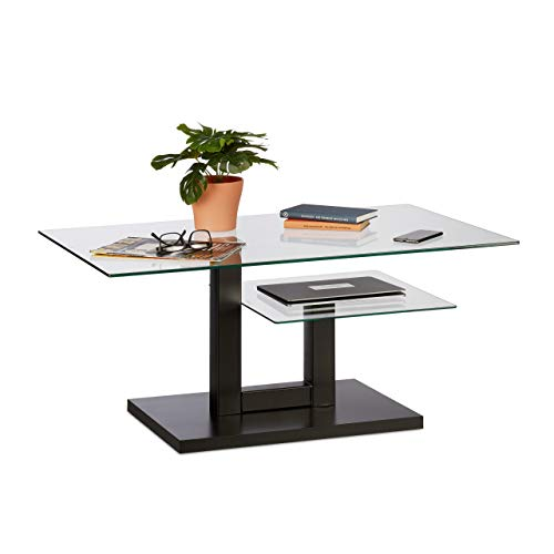Relaxdays Couchtisch Glas, moderner Glastisch, 2 Ablagen, Wohnzimmer, Design Sofatisch, HxBxT: 45 x 100 x 60 cm, schwarz