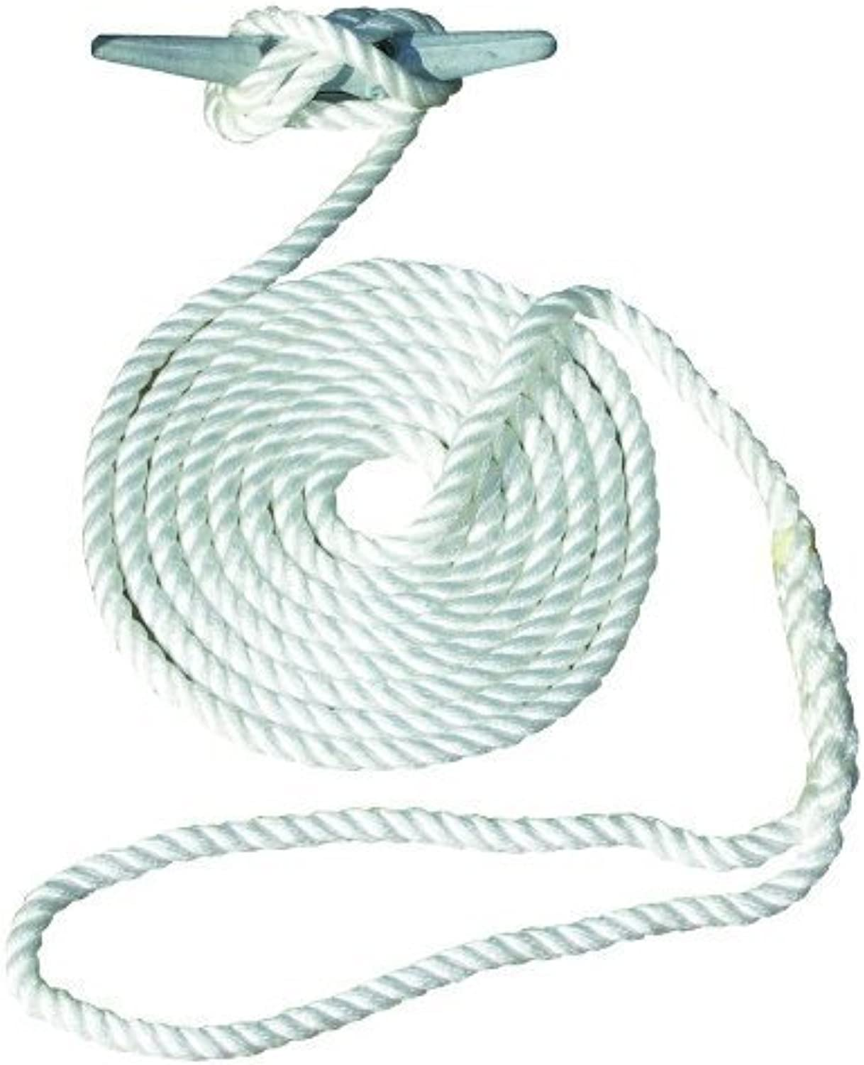 Invincible Marine 15-Foot Hand Spliced Nylon Dock Line, 1 2-inches by 15-Feet, Weiß by Invincible Marineblau