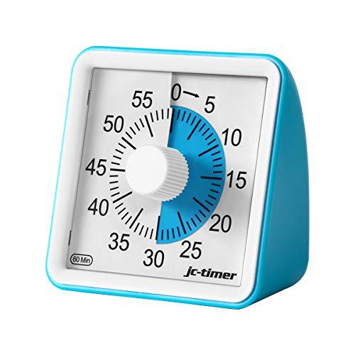 POLAME Timer analogico Blu, Timer per Il Conto alla rovescia dello Studio, Orologio Silenzioso, Strumento di Gestione del Timer da Ufficio 60 Minuti per Adulti e Bambini