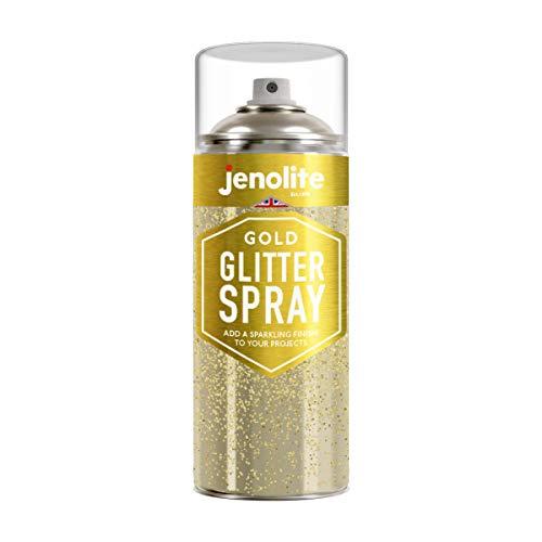 JENOLITE Klares Versiegelungs-Aerosol mit Goldglitter - Fügt ein Glitzern Finish auf jeder Oberfläche, erfect für Rahmen, Schmuck, Skulpturen, Weihnachtsschmuck und Handwerksprojekte - 400 ml