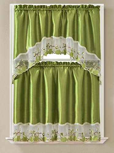 """Beatrice Home 3pc Kitchen Curtain and Valance Set/1 Swag Valance and 2 Tiers,2 Tiers Width 30""""x 36"""" Each and The Valance Length 60""""x36"""" (Green Apple)"""