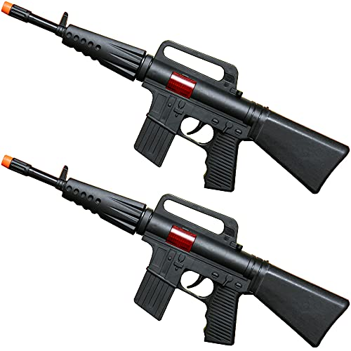 Army Rifle Gun Toy, Set of 2, Pretend Play Toy, Sound and Sparking Action, Black, 16 Inches