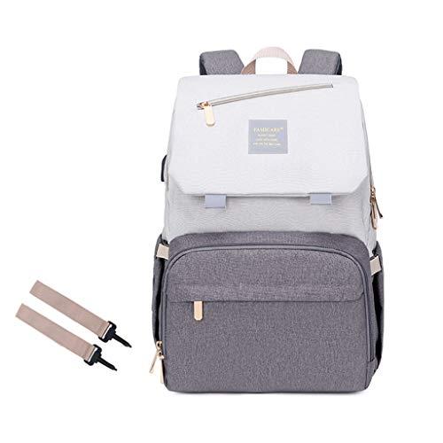 Boji Mochila para pañales de bebé, bolso para viaje, bolso cambiador de gran capacidad, mochila de viaje, mochila de viaje, impermeable, compartimentos para biberones