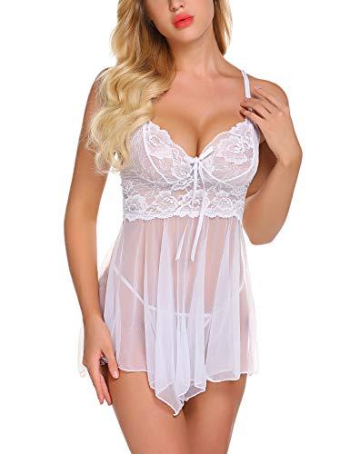 ADOME Spitze Negligee Sexy V-Ausschnitt Babydoll Lingerie Nachtwäsche Kleid Dessous Set für Damen M1884t Unregelmäßiger Saum und String Weiß EU M