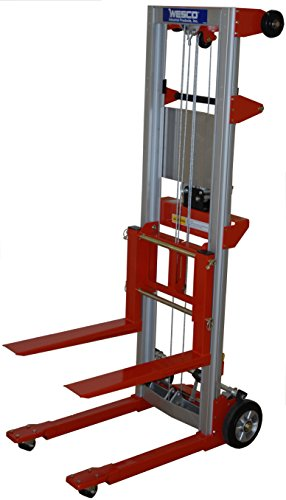 Wesco Industrial Products 273511 Aluminum/Steel Hand Winch Lifter with Fixed Base, 500-lb. Capacity, 24' x 35' x 68'