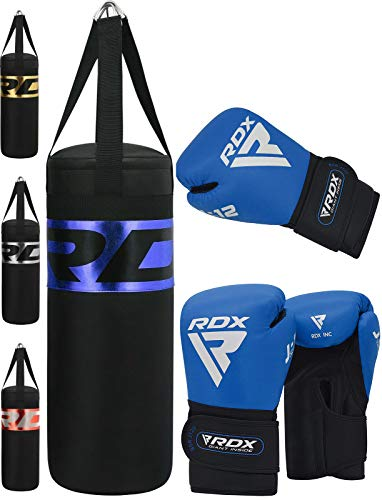 RDX Kinder Boxsack Set Gefüllt Kampfsport Boxandschuhe Heavy Kickboxen MMA Muay Thai Boxen Mit Junior Training Handschuhe Sandsack 2FT Punching Bag (MEHRWEG)