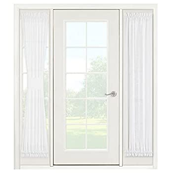 Window Treatments for French Doors - Linen Texture Semi Sheer Privacy Sidelight Panels Glass Door Curtains for Entry Door Front Door Foyer Window Blinds 2 Free Ropes 2 Panels 30  x 72  White