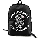 N / A Sons of Anarchy Fitness Pack Classic Mochila Escolar Negro Bolsa de viaje de trabajo para Poliéster Unisex Escuela