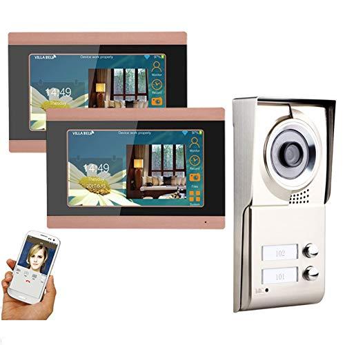 Timbre de puerta con vídeo por wifi para 2 apartamentos, 2 monitores de 7 pulgadas, videoportero, cámara IR-CUT impermeable con botón de llamada.