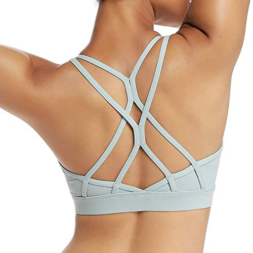 Strappy Sports Bra Workout Running Yoga Bra with Removable Cups Tops Activewear Open Back (XL{Fit for 36C 36D 38A 38B}, Green)